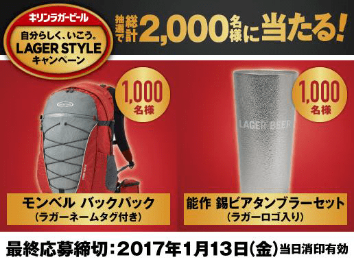 キリン ラガービール自分らしく行こうラガースタイルキャンペーン